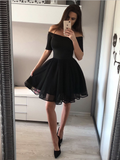 Sexy Off The Shoulder Tulle A Line Mini Short Homecoming Dress, BTW136