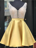 Elagant Yellow Pretty A Line Satin Beaded Short Homecoming Dresses, BTW148