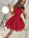 Elagant Round Neck Cheap Red Lace A Line Short Homecoming Dresses, BTW150