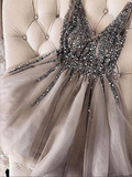Sexy V Neck A Line Tulle Beaded Rhinestone Short Homecoming Dress, BTW149