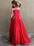 Red Satin Beaded Pockets Strapless Ball Gown Sweet-16 Prom Dresses, DB1125