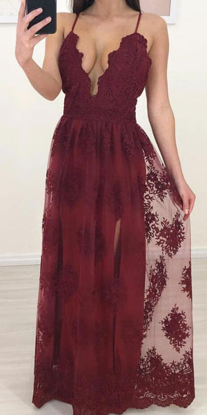 Spaghetti Strap Tulle Lace A-line Occasion Party Prom Dresses DPB3103