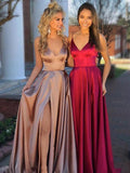 Spaghetti Strap V-neck Elastic Satin Cheap Bridesmaid Dresses,PB1047