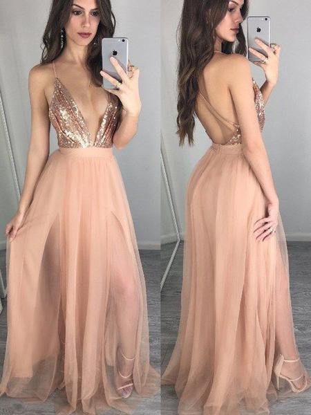 Sparkle Sequin Top Deep V-Neck Backless Spaghetti Strap Tulle Long Evening Prom Dresses,SW0061