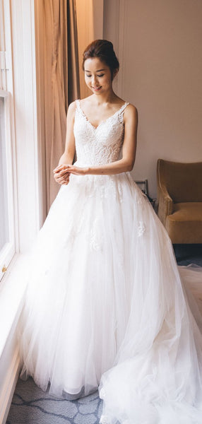 Sparkly Beading Lace Tulle Ball Gown Wedding Dresses,DB0170