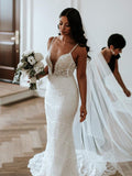 Stunning Lace Shiny Beads Spaghetti Strap Mermaid Fashion Wedding Dresses,DB0179
