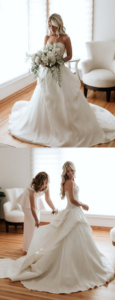 Sweetheart Strapless Lace Satin Ball Gown Wedding Dresses ,DB0171