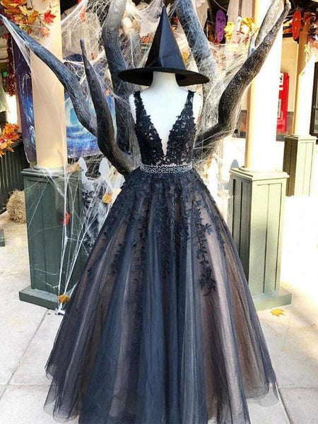 Tulle Black Lace Applique A-line V-neck Long Prom Dress DPB152