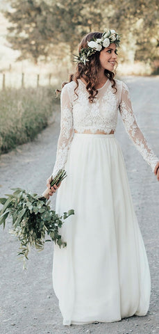 products/Two_Piece_See_Through_Lace_Top_Long_Sleeve_Ivory_Chiffon_Wedding_Dresses_DB0177-2.jpg