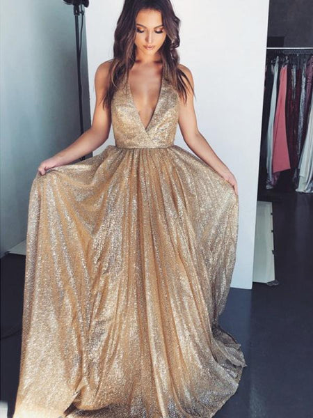V-neck Sparkly Shiny Sequin Fashion Long Prom Dresses, DB1108