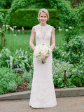Vintage Lace Cap Sleeve See Through Neckline Sheath Wedding Dresses,DB0167