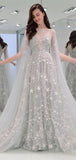 Gorgeous Long Sleeves A Line Floor Length Tulle Long Prom Dresses, MD447