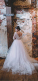 Elegant V Neck Open Back Long Sleeves Sweep Trailing Long Wedding Dresses ,MD435