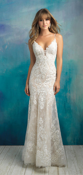 Pretty Spaghetti Strap V Neck Floor Length Long Mermaid Wedding Dresses, MD443
