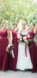 Pretty Lace Top Burgundy A Line Chiffon Short Sleeves Long Bridesmaid Dresses, SW1054