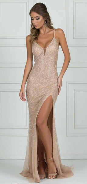 Pretty Spaghetti Straps V Neck Sleeveless Sequin Mermaid Long Prom Dresses, MD432