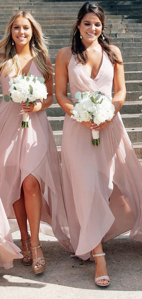 Simple Light Pink Spaghetti Strap V Neck High Low Bridesmaid Dresses, SW1076