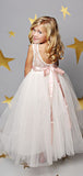 Cute A Line Backless Floor Length Lace Top Tulle Long Flower Girl Dresses , GTE2127