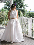 White Lace Satin Two Piece Halter With Pocket Wedding Dresses ,DB0178