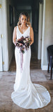 White Satin V-neck Sleeveless Mermaid With Train Wedding Dresses,DB0165