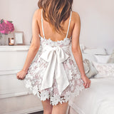 Elegant V Neck Backless Lace A Line Short Homecoming Dress, BTW216