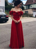 Pretty Red Off the Shoulder Applique Floor Length  Evening Prom Dresses, SW0055