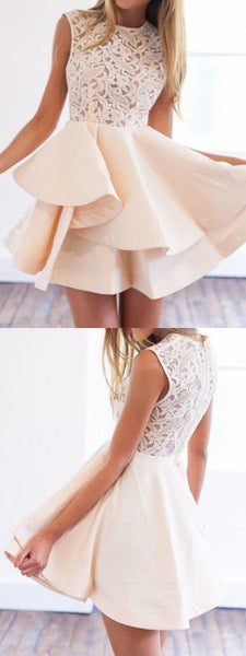 Elegant Round Neck Lace Top A Line With Ruffle Short Homecoming Dress, BTW200