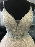 Chic Spaghetti Strap V-Neck Lace Beaded Wedding Dresses, BW0594