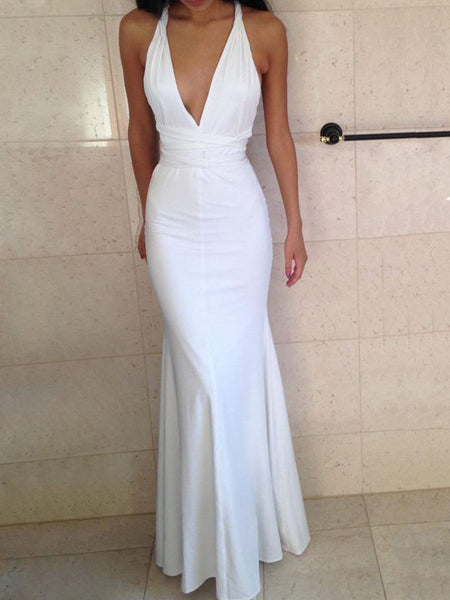 Charming White Halter Deep V-Neck Backless Mermaid Floor Length Evening Prom Dresses, SW0044