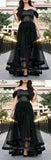 Pretty Black Off the Shoulder Beaded Organza Long Evening Prom Dresses, BW0601