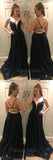 Blue Spaghetti Strap Backless Deep V-Neck Long Evening Prom Dresses, BW0602