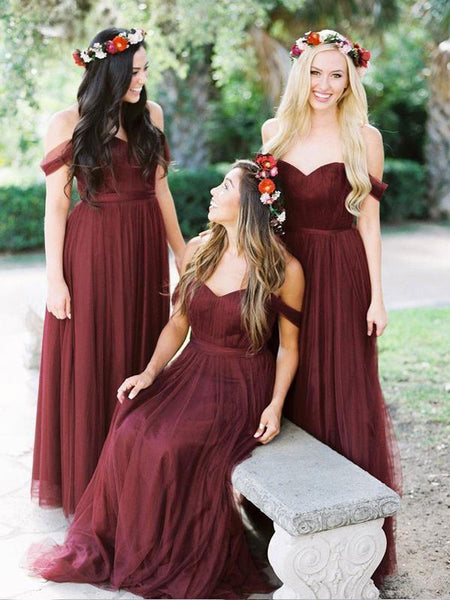 Beautiful Off Shoulder Tulle A Line Long Bridesmaid Dresses, SW1004