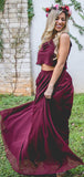 Simple Two Pieces Chiffon A Line Floor Length Long Bridesmaid Dresses, BM1101