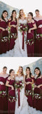 Charming Burgundy Off the Shoulder Spaghetti Strap Sweet Heart Long Bridesmaid Dresses , SW0003