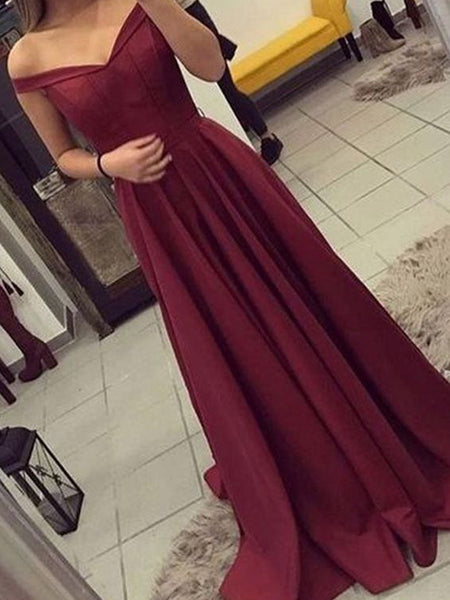 Charming Burgundy Off the Shoulder Simple Long Evening Prom Dresses, SW0063