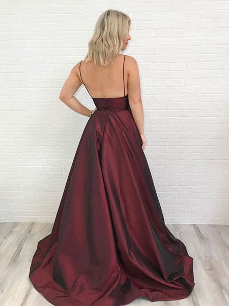 Affordable Burgundy Spaghetti Strap V-Neck Open Back Floor Length Evening Prom Dresses, SW0064