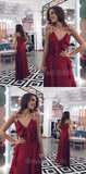 Pretty A-Line Burgundy Spaghetti Strap V-Neck Floor Length Evening Prom Dresses, SW0074