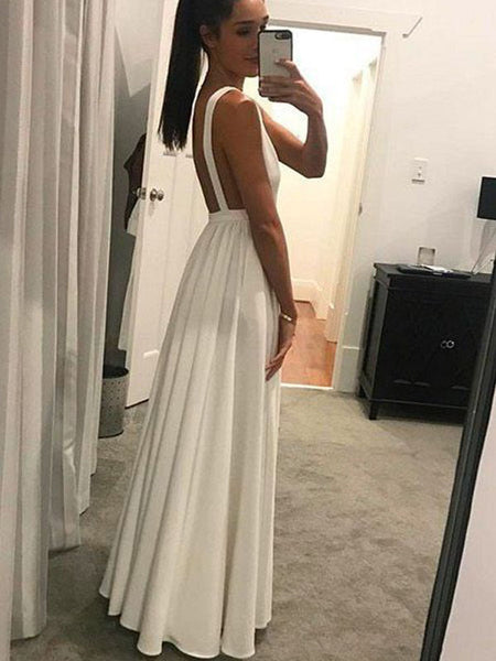 Chic White Deep V-Neck Backless Floor Length Evening Prom Dresses, SW0042