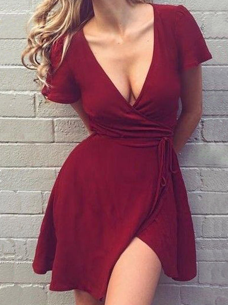 A-Line V-Neck Burgundy Chiffon Short Homecoming Dresses, SW0002