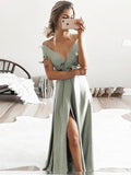 Gorgeous Sage Green Off the Shoulder V-Neck Side Slit Floor length Evening Prom Dresses, SW0030