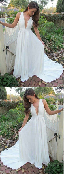 Pretty White Deep V-Neck Open Back Sweep Train Evening Prom Dresses, SW0043