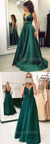 Simple Emerald Green Open Back Floor Length Evening Prom Dresses, SW0070