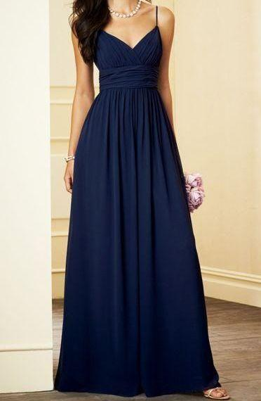 Simple Light Navy Blue Prom Dress,Spaghetti Strap Floor Length Evening Dress , MD316