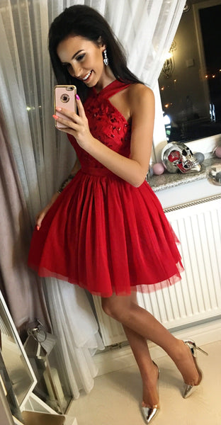 Pretty Red Sleeveless Zipper Tulle A Line Mini Short Homecoming Dress, BTW179