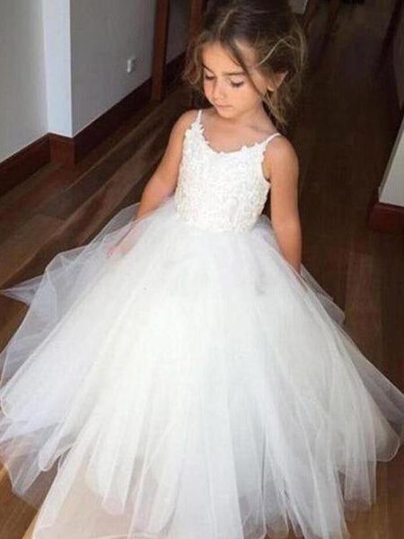 Pretty Spaghetti Strap Lace Top Tulle Hot Sale Flower Girl Dresses For Wedding Party, SW0005