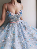 Charming Flower Applique Sky Blue Spaghetti Strap Long Evening Prom Dresses, SW0067