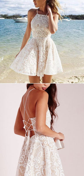 Simple Halter Lace Up Open Back A Line Short Homecoming Dress, BTW173