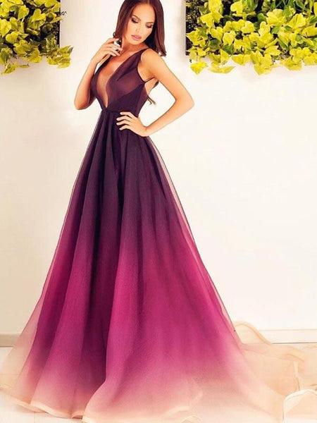 Gradient Burgundy Deep V-Neck Sleeveless Long Evening Prom Dresses, BW0595