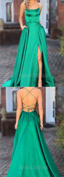 Inexpensive Green Spaghetti Strap Open Back Side Slit Floor Length Evening Prom Dresses, SW0066