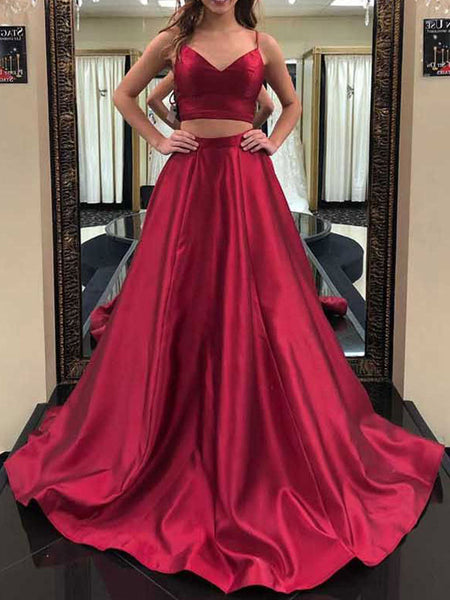 Elegant Burgundy Satin Spaghetti Strap V-Neck Sweep Train Evening Prom Dresses, SW0052